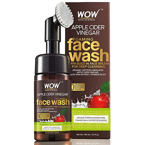 Amazon.com: WOW Apple Cider Vinegar Exfoliating Face Wash W/Brush - Soft, Silicones Bristles - Foaming Cleanser For All Skin Type - Hydrate For Smooth Skin, Helps Remove Blackheads & Reduce Acne Breakout - 100ml: Beauty