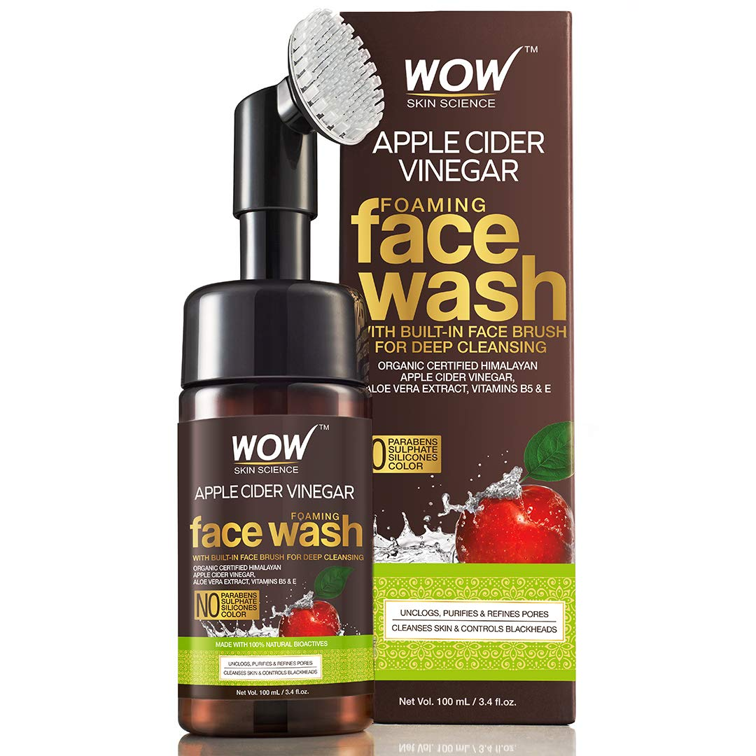 WOW Organic Apple Cider Vinegar Foaming Face Wash with Built-In Brush - No Parabens, Sulphate and Silicones, 100 ml product image