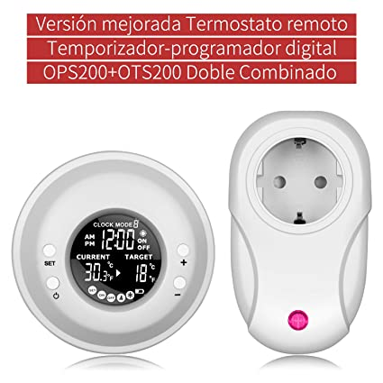 Temporizador Digital Programable, UPPEL Termostato Programable Inalámbrico Temporizador digital de control de temperatura adaptador Enchufe