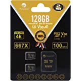 Amplim 2-Pack 128GB Micro SD SDXC Card Plus Adapter Pack - 2X 128 GB MicroSD Card V30 A1 U3 C10 Extreme Speed 100MB/s…