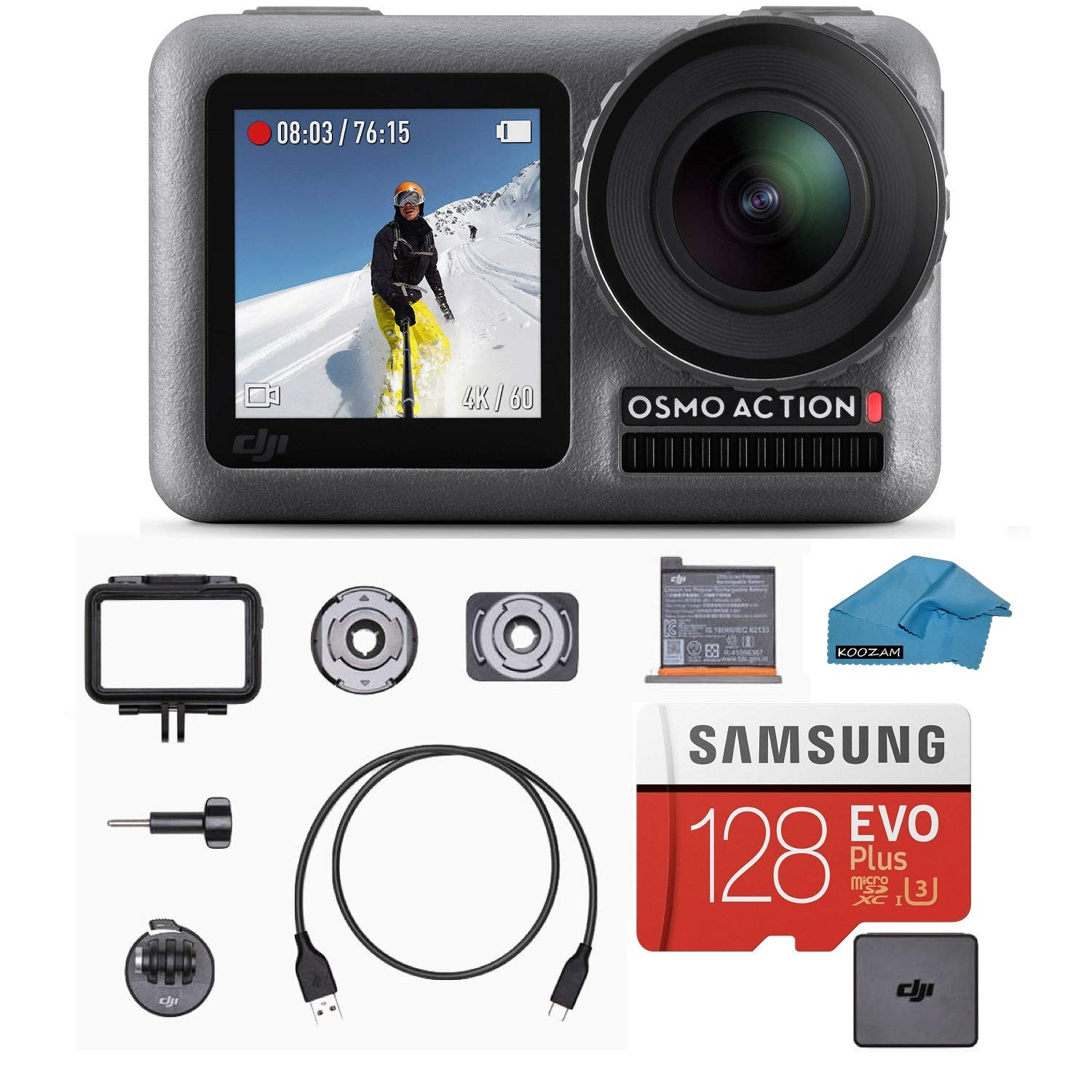 DJI OSMO Action Cam Digital Camera Bundle with 2 Displays 36FT/11M Waterproof 4K HDR-Video 12MP 145° Angle, 128gb Micro SD Card, Card Reader, Must Have Accessories by DJI