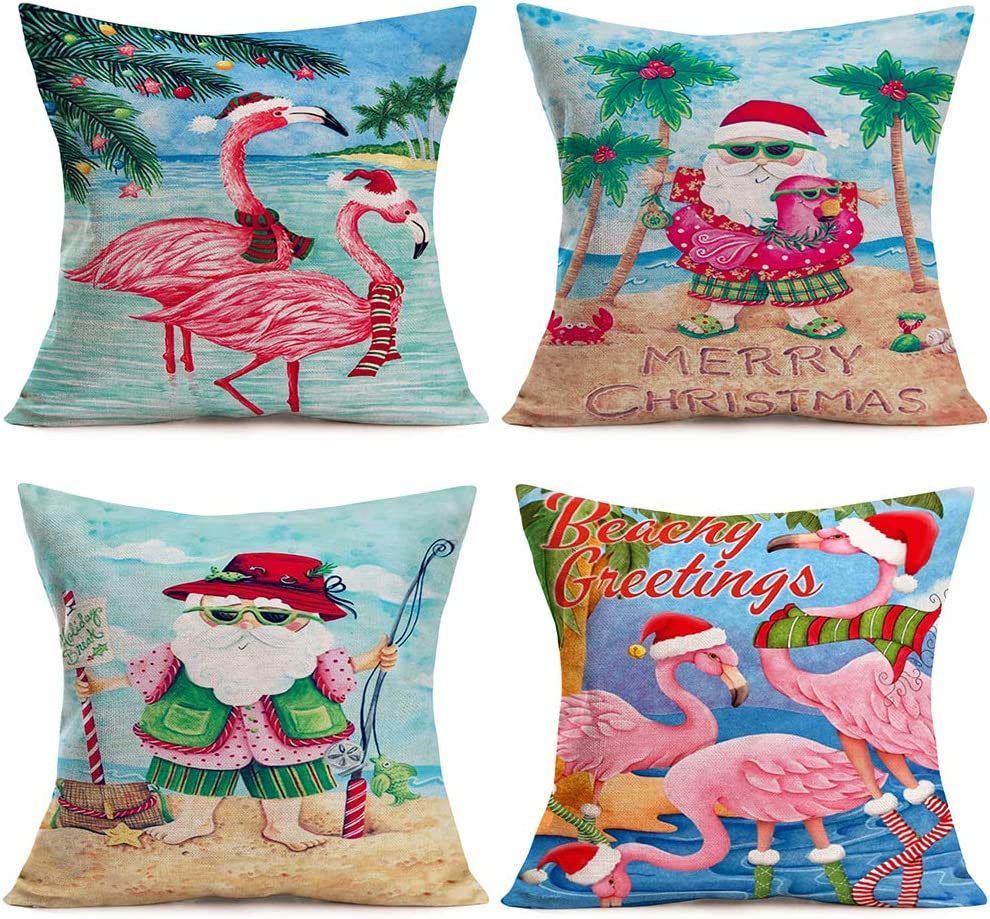 ShareJ Set of 4 Merry Christmas Beachy Greetings Quotes Decorative Pillow Covers 18x18 Inch Santa Beach Christmas Tropical Flamingo Decor Funny Throw Pillow Covers Cotton Linen Cushion Cover