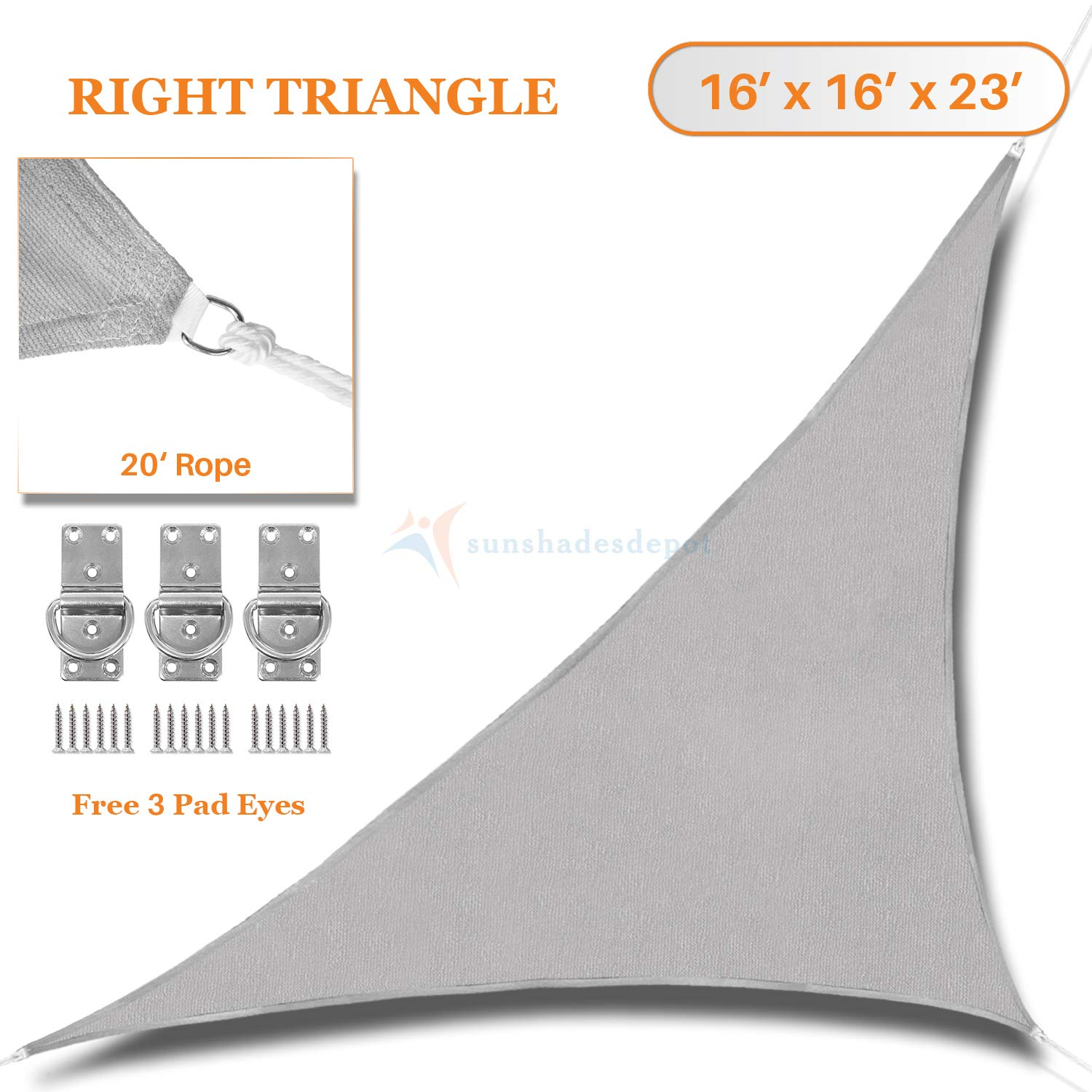 Sunshades Depot 16' x 16' x 23' Light Grey Sun Shade Sail Right Triangle Permeable Canopy Custom Commercial Standard 180 GSM HDPE
