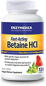 Enzymedica - Betaine HCl, Supports Gentle Relief from Occasional Heartburn and Indigestion, 120 Capsules
