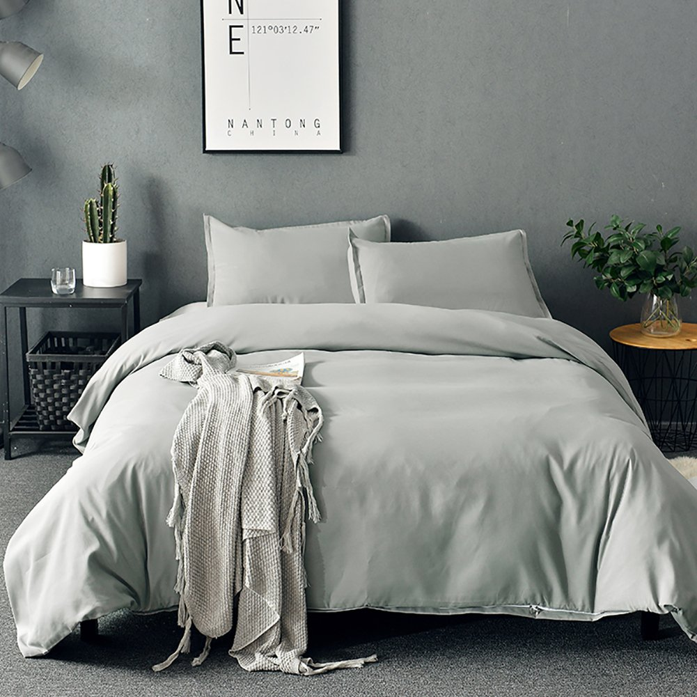 SORMAG Duvet Cover Queen Grey Microfiber With Zipper Close Duvet Cover Set 3 Piece … by SORMAG