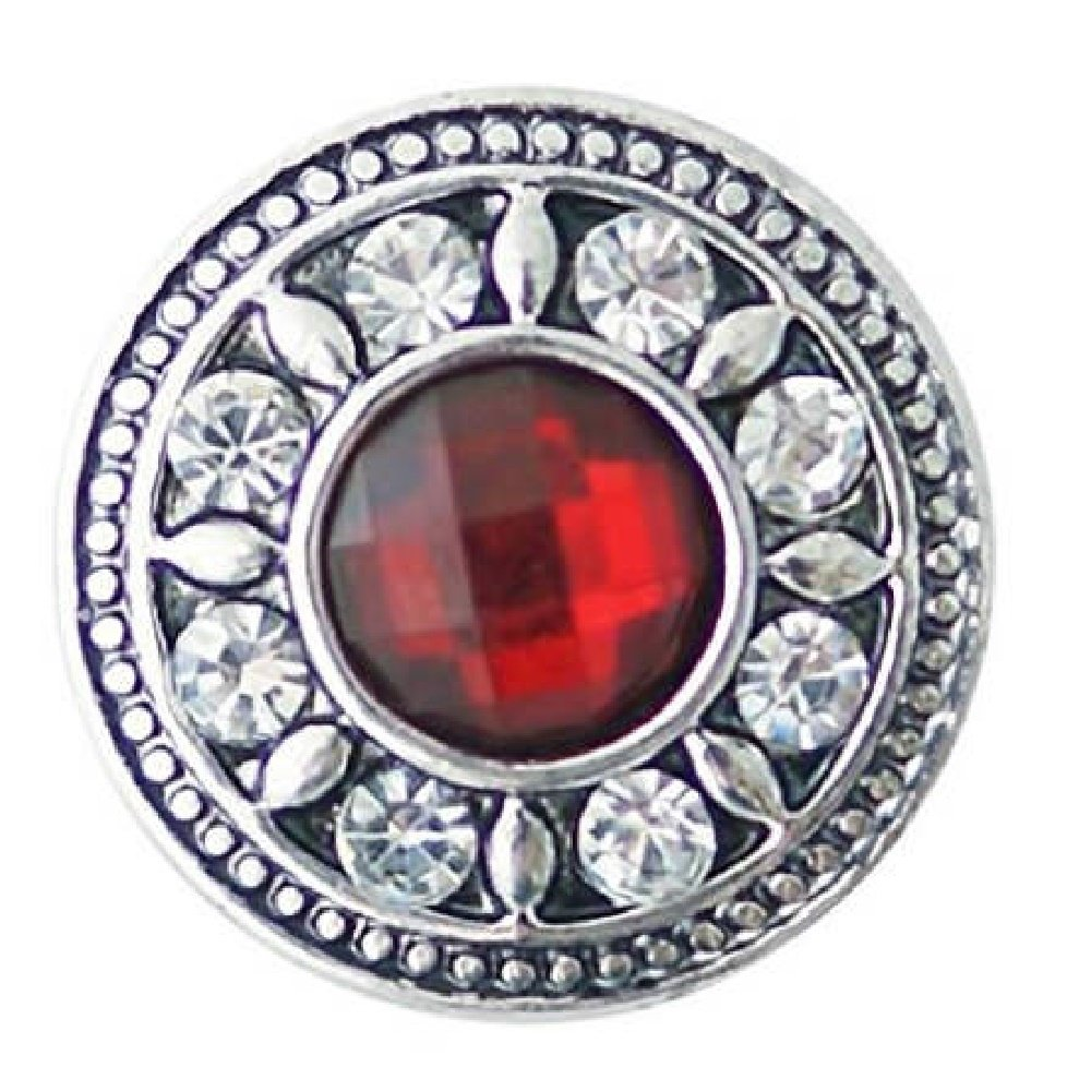 My Prime Gifts Interchangeable Snap Jewelry Rhinestone Faceted Red 18-20mm Snap Partner Beads