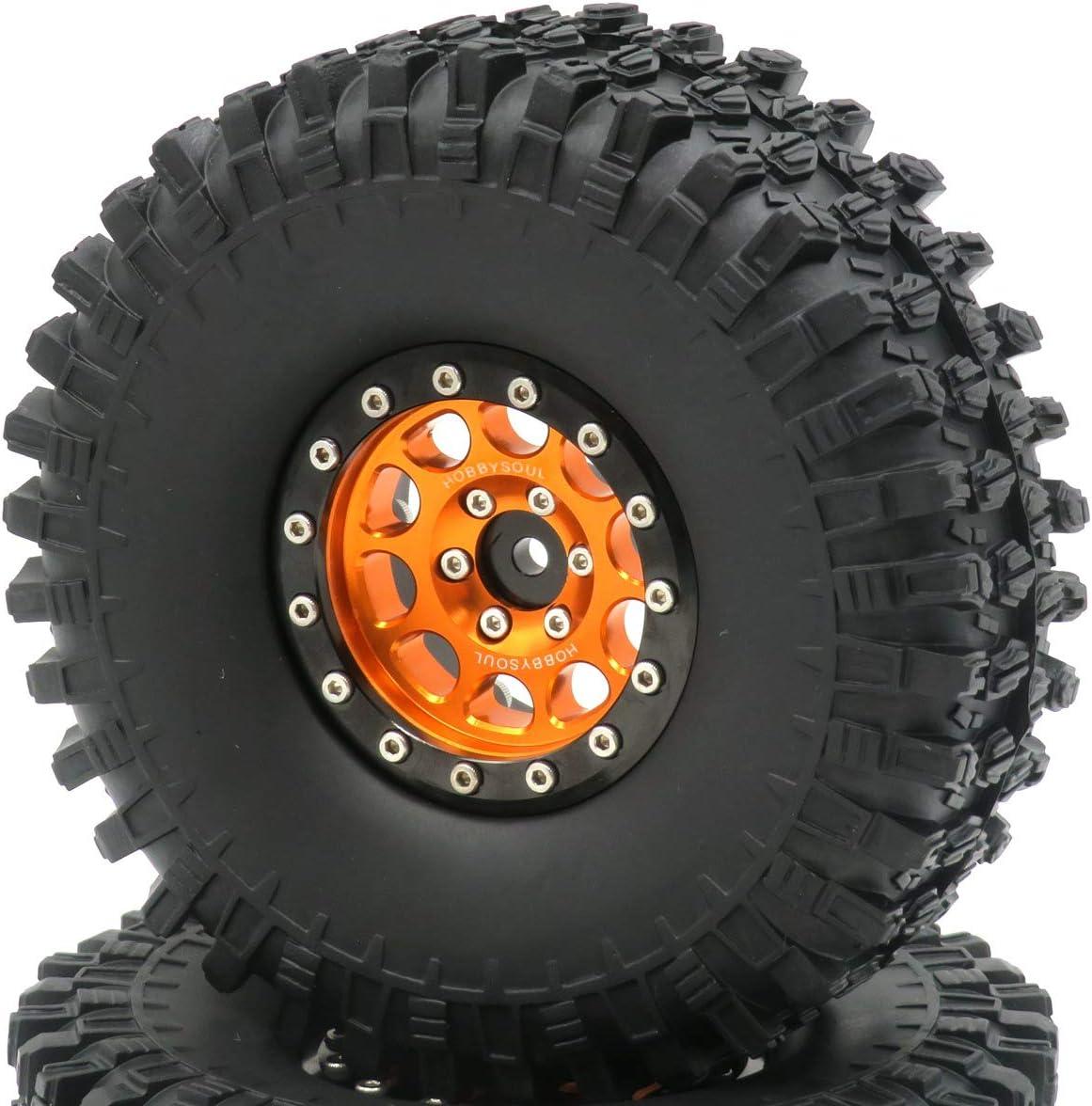 4pcs RC 1.9 Super Swamper Crawler Tires Tyre Height 120mm /& Aluminum Alloy 1.9 Beadlock Wheel Rim Hex 12mm