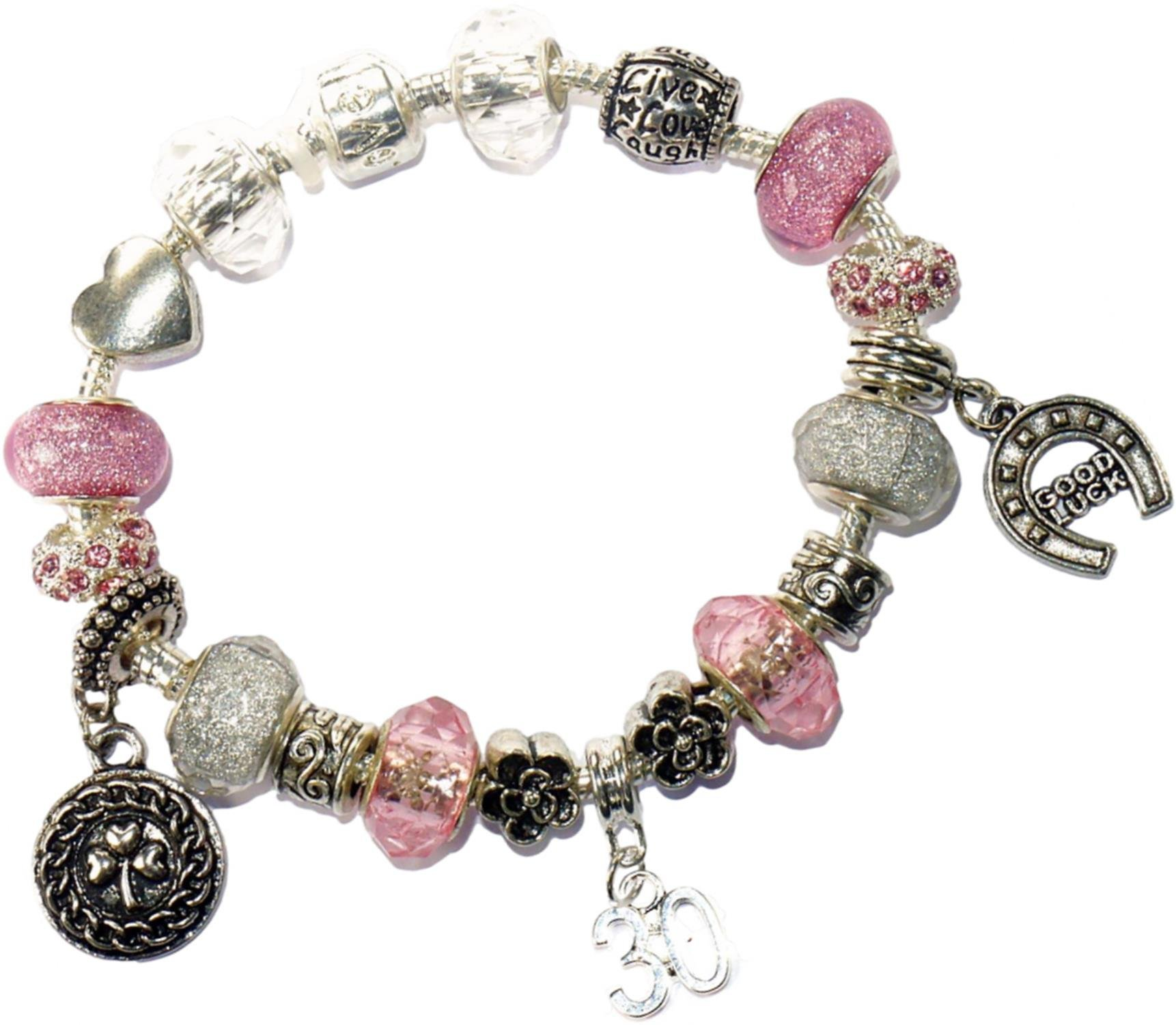 Charm Buddy 30th Birthday Good Luck Lucky Pink Silver Pandora Style Bracelet With Charms Gift Box Jewelry