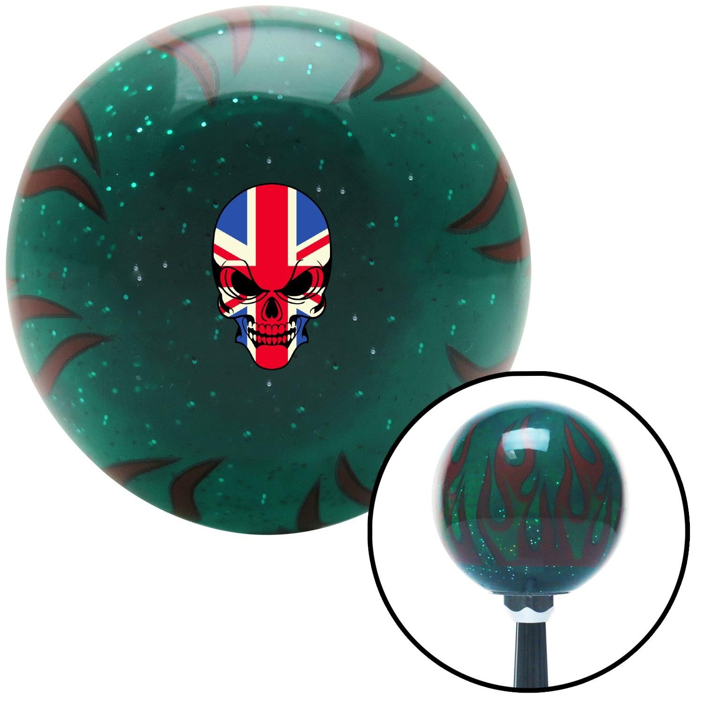 English Skull Green Flame Metal Flake with M16 x 1.5 Insert American Shifter 300816 Shift Knob