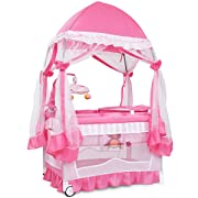 BABY JOY Portable Playard, Convertible Baby Playpen with Removable Bassinet, Changing Table, Music Box, Cute Whirling Toys, Wheels & Brake, Mosquito Mesh Net, Travel Ready with Oxford Carry Bag, Pink