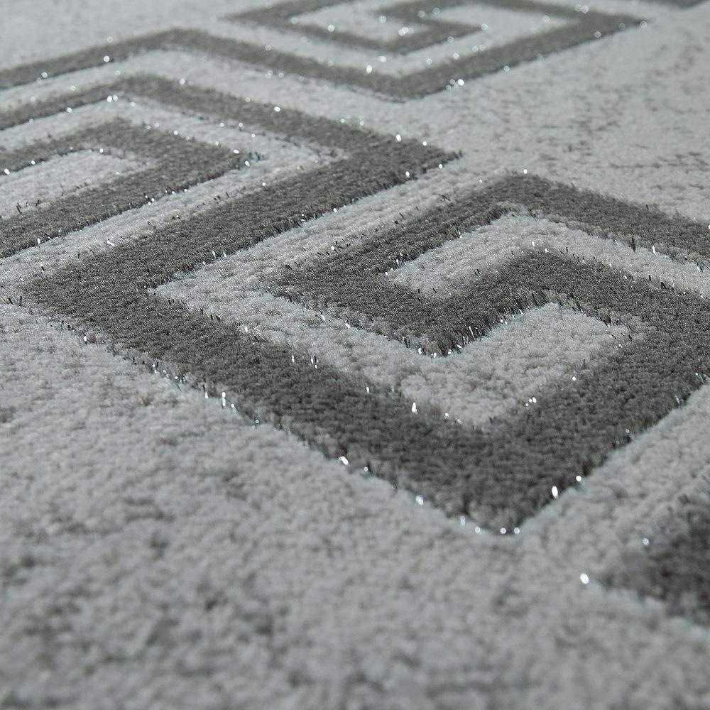 Moderno Tappeto Soggiorno Pelo Corto Motivo Meandro Bordura in Grigio Nero Dimensione:60x110 cm