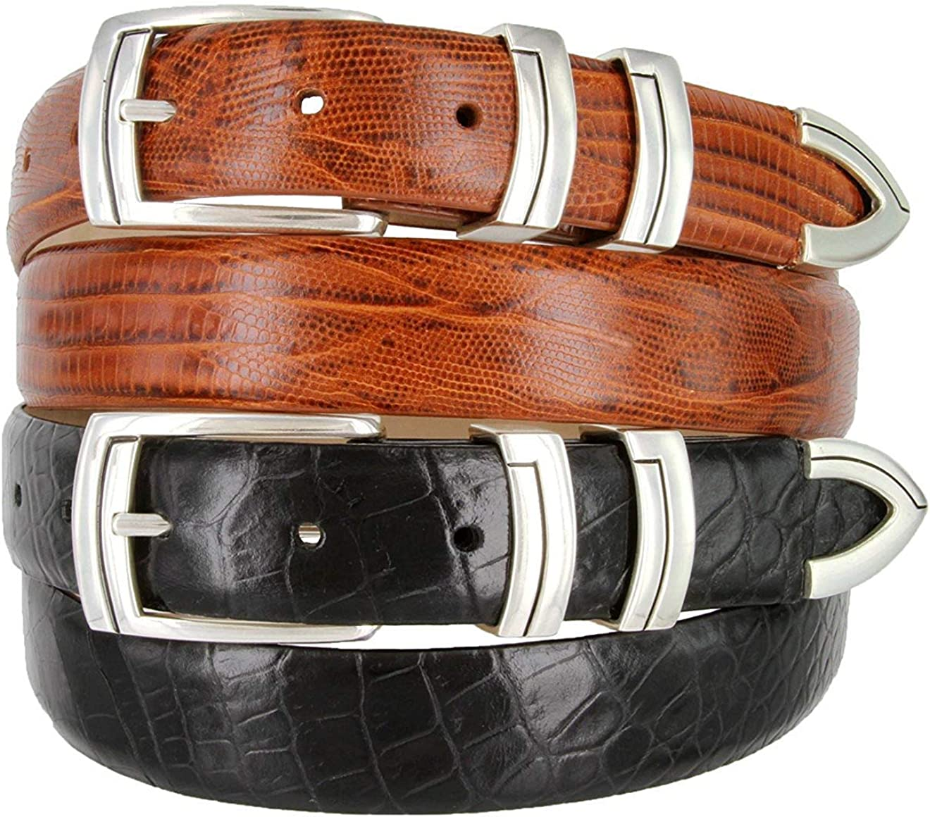 BBBelts Men 1-1//8 Wide Genuine Italian Calfskin 3 Piece Silvered Buckle Belt