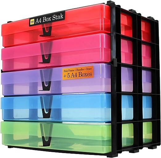 WestonBoxes - Sistema de almacenamiento apilado con sorteos, que incluye 5 cajas A4 - 18 litros de almacenamiento con una pequeña superficie de escritorio (Multicolor, Paquete de 1): Amazon.es: Oficina y papelería