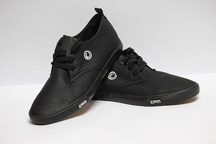 Matt Finish Leather Black Canvas Shoe