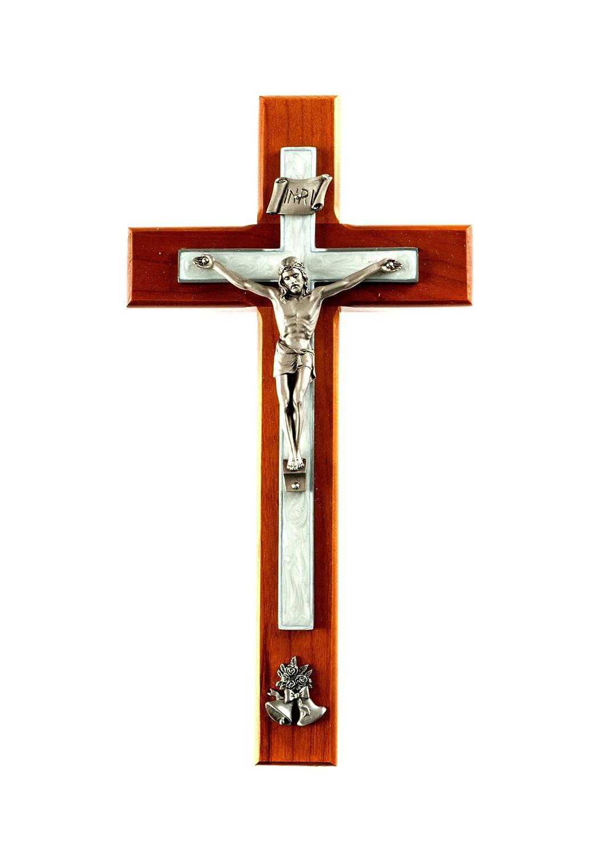 "10"" Cherry Wood Wedding Crucifix, White Pearlized Epoxy, Pewter Corpus and Wedding Bells"