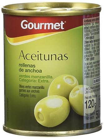 Gourmet - Aceitunas Rellenas de Anchoa Verdes Manzanilla Extra - Pack de 3 latas x 40