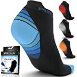 Compression Running Socks for Men & Women - Best Low Cut No Show Athletic Socks for Stamina Circulation & Recovery - Ultra Durable Ankle Socks for Runners, Plantar Fasciitis, Endurance & Cycling, womens, (4 PAIRS) BLUE BLACK + BLUE WHITE, L/XL (US Women 8-15.5 / US Men 8-14)