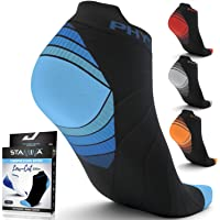 Physix Gear Compression Running Socks Men Women - Best Low Cut No Show Athletic Socks Stamina Circulation & Recovery - Ultra Durable Ankle Socks Designed Plantar Fasciitis, Cycling & Running