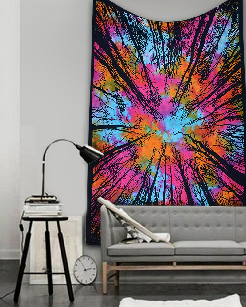 New Launched Popular Rainbow Tye dye Locust Trees From below tapestry Forest neture's whims Intricate Floral Design Indian Bedspread 54x84 Inches, multi color tapestry By Popular Handicrafts Th496