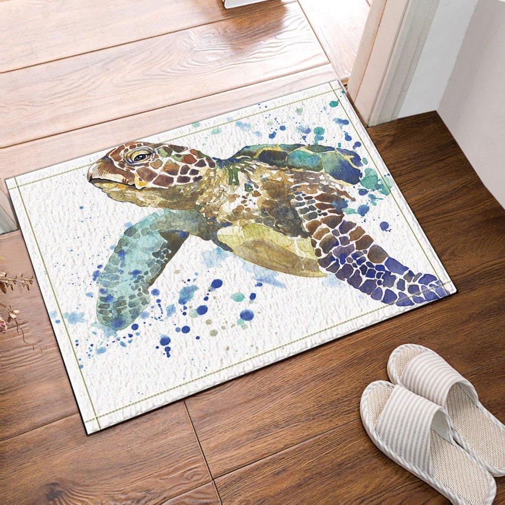 NYMB Sea Animal Lover Watercolor Brick Turtle Bath Rug, Non-Slip Floor Entryways Outdoor Indoor Front Door Mat,60x40cm Bath Mat Bathroom Rugs by NYMB (Image #2)