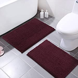 MAYSHINE Chenille Bathroom Rugs Extra Soft and Absorbent Shaggy Bath Mats Machine Wash/Dry, Perfect Plush Carpet Mat for Kitchen Tub, Shower, and Doormats (2 Pack - 20x32 Inches, Burgundy)