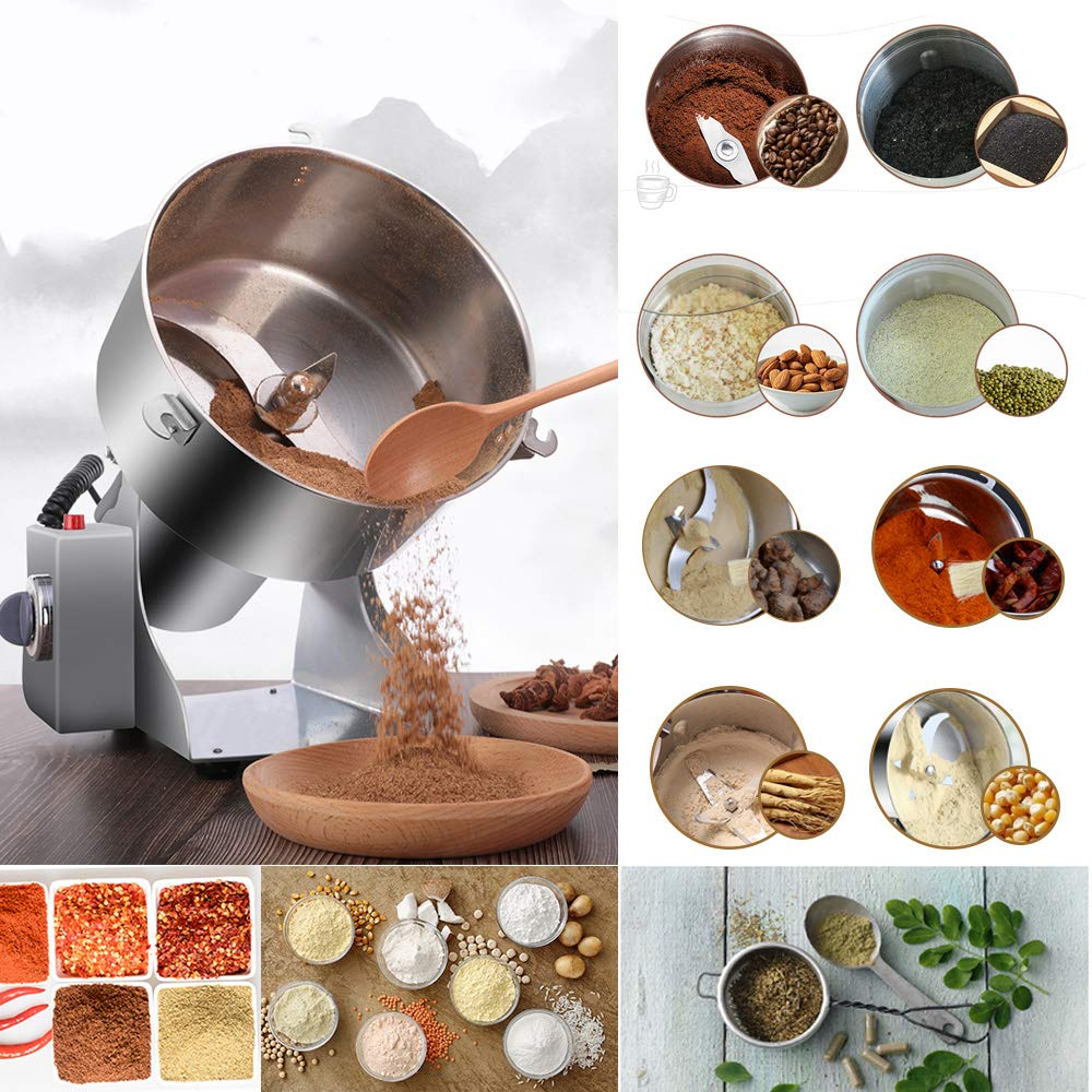 RRH 1000G Swing Type Grain Mill Electric Spice Nut and Coffee Grinder High Speed 25000 RPM Stainless Steel 2800W Powder Machine 50-300 Mesh, for Herbs Corn Sesame Soybean Pepper Bait Feed by RRH (Image #4)