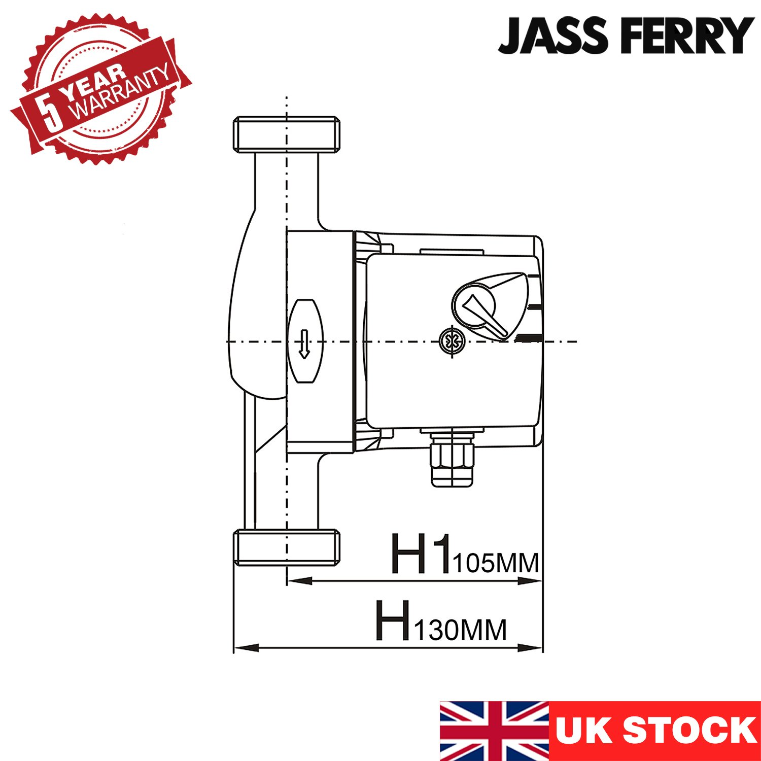 JASS Ferry A-Class Central Heating Circulator Pump Energy-Saving High Efficiency for Water Circulation Systems Replacement KBA25-6 II AC no Monitor