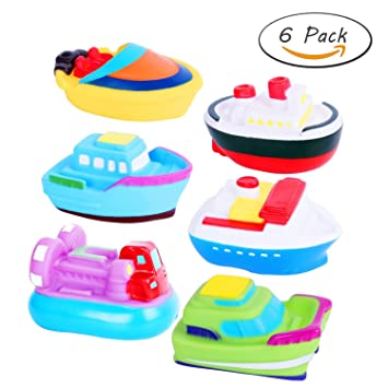 DQTYE 6Pcs Bath Toy Floating Boats Baby Soft Squirt Bathing Toys Bathtub Cartoon PU Rubber Ship Water Game Learning Educational Toy For Kids Toddlers Activity & Entertainment