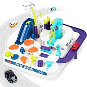 Wazooee Race Tracks for Boys and Toddlers Educational Toys for 2 3 4 5 6 7 8 Year Old Boys and Girls, Car Adventure Puzzle Car Track Playsets Preschool Toy Vehicle with 4 Mini Cars Gifts for Kids…