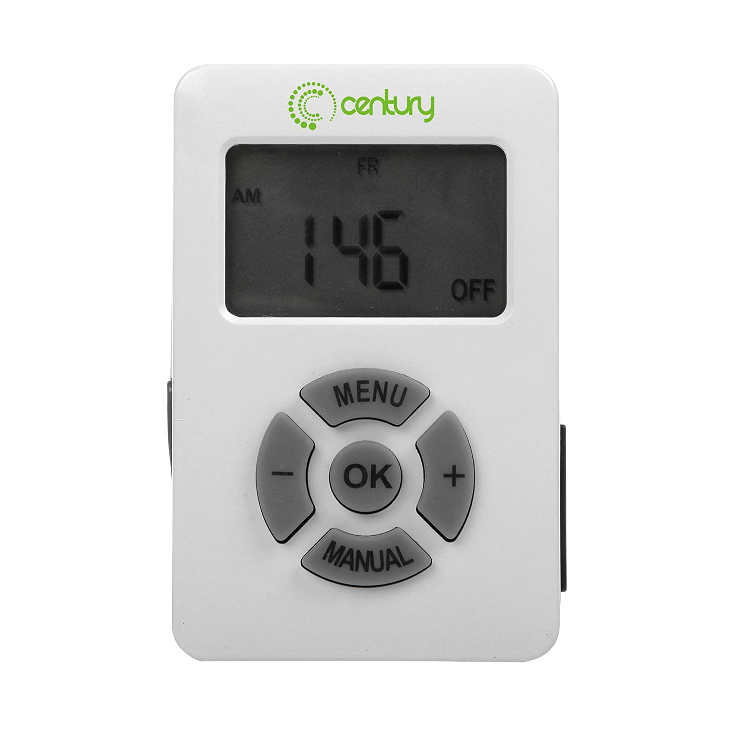 Century 7 Day Programmable Digital Timer With 3-Prong Outlet, One Key Start Countdown Function