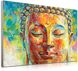 Blue and Golden Buddha Decor Wall Art in Meditation Colorful Buddha Head Portrait Abstract Zen Painting Modern Canvas Posters Prints for Bathroom Yoga Bedroom Decoration Wall Murals 16