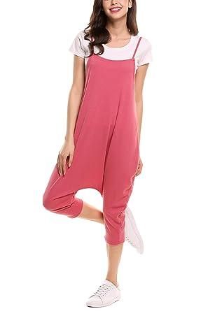 487b1539752 Zeagoo Women s Spaghetti Strap Harem Jumpsuit One Piece Backless Mid-Calf  Loose Playsuit Romper(