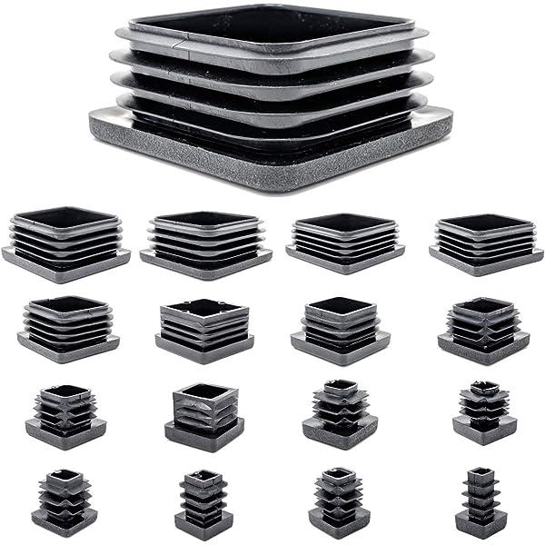 Ajile/® 16 piezzas Tapones cuadrados para pata de silla y almehadillas 16 x 16 mm DIMENSION EXTERNA con suela de fieltro contra ruido y ara/ñazos ECF116-FBA