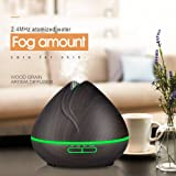 NEWKBO 400ml Essential Oil Diffuser, Wood Grain, Ultrasonic Aroma Humidifier, Cool Mist Automatic Shutdown and 4 Settings Timer, 7 Colors LED Light for Office Home Bedroom Yoga Spa (Dark Wood)