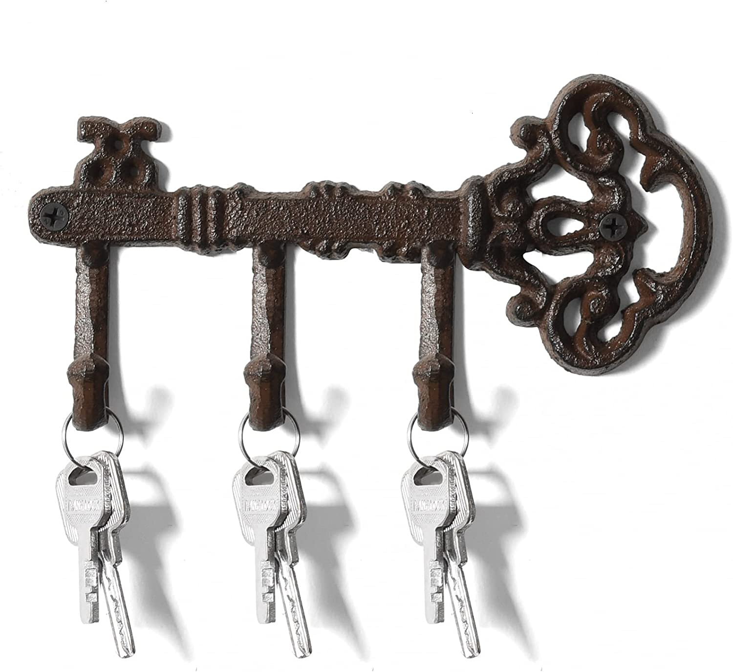 WSSROGY Cast Iron Key Holder for Wall Decorative, Wall Key Holders for Home with 3 Hooks, Key Hangers for Wall, Antique Brown Key Rack, Farmhouse Decor,8.75 X 3.5 Inches