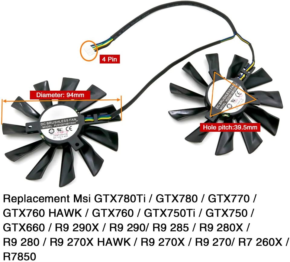 Video PLD10010B12HH For MSI R9-290X R9-280X R9-270X R7-260X Cooling Fan