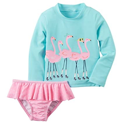 e80434b6ca Amazon.com: Carters Baby Girls 2-Piece Flamingo Rashguard Set 18M ...