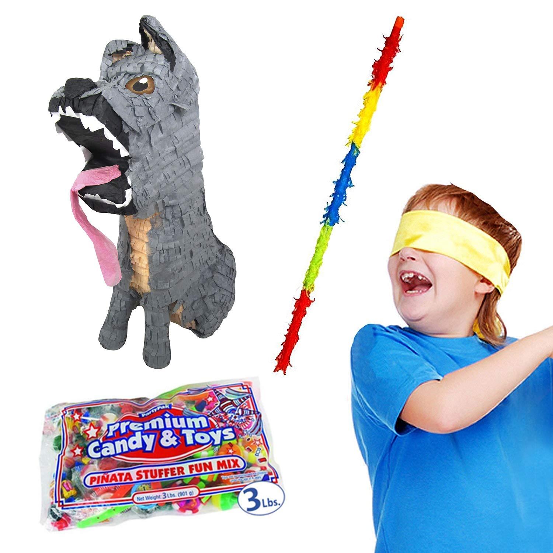 Spirited Dog Pinata Kit Including Pinata, 3 lb Candy Filler, Buster Stick and Bandana