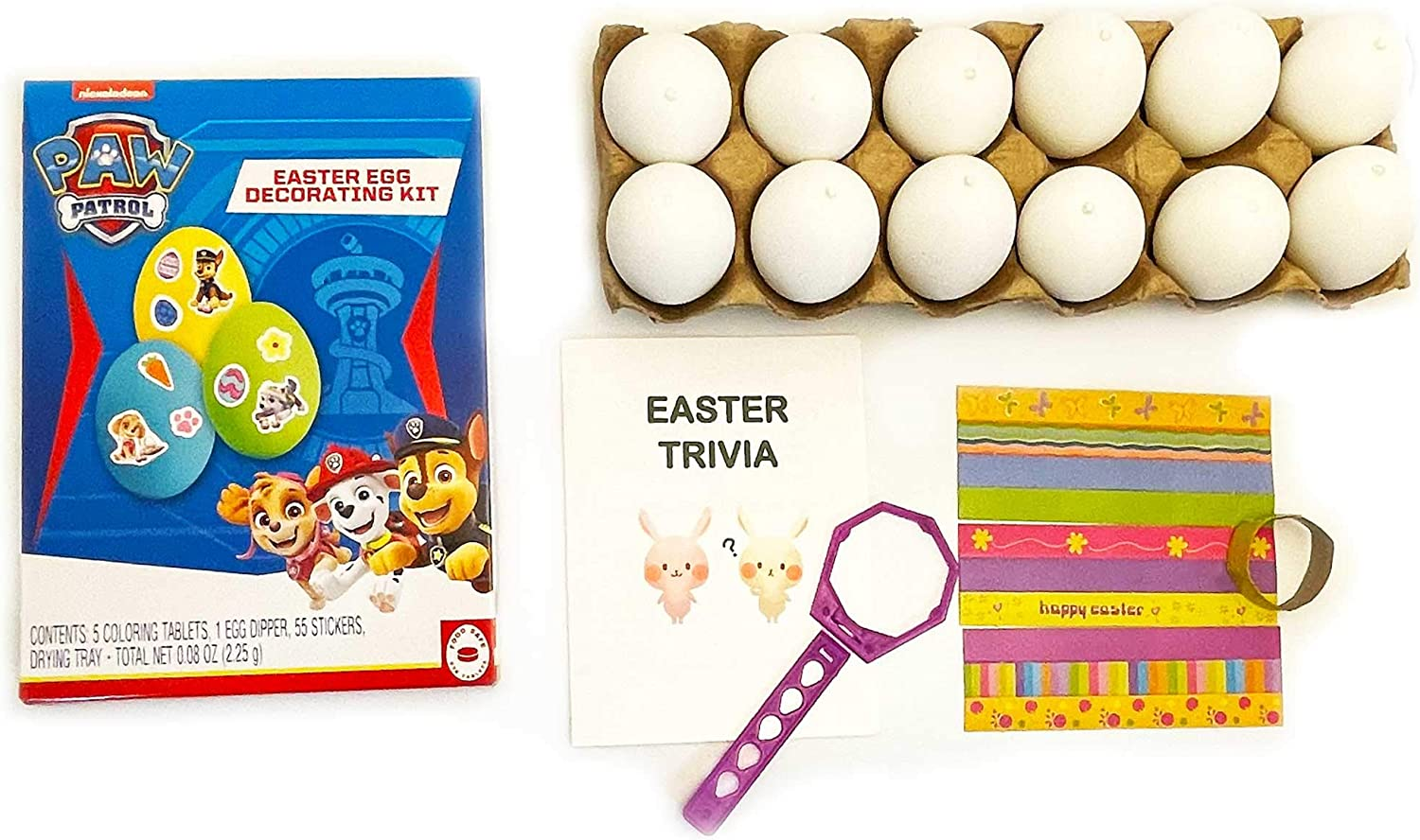 Easter Egg Decorating DIY Dyeing Kit Bundle with 12 Plastic Eggs, 5 Non-Toxic Food Grade Coloring Tablet Dyes, 2 Egg Dipper, 55 Stickers, Drying Tray, Easter Trivia (Paw Patrol)