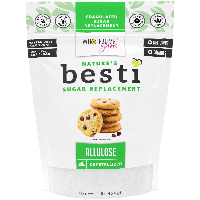 Wholesome Yum Besti Keto Allulose Sweetener - Natural Sugar Replacement (16 oz / 1 lb) - Non GMO, Zero Carb, Zero Calorie Sugar Substitute
