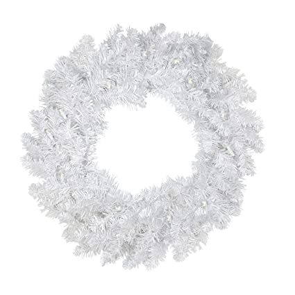 darice 24 pre lit white artificial christmas wreath warm clear led lights - White Christmas Wreath