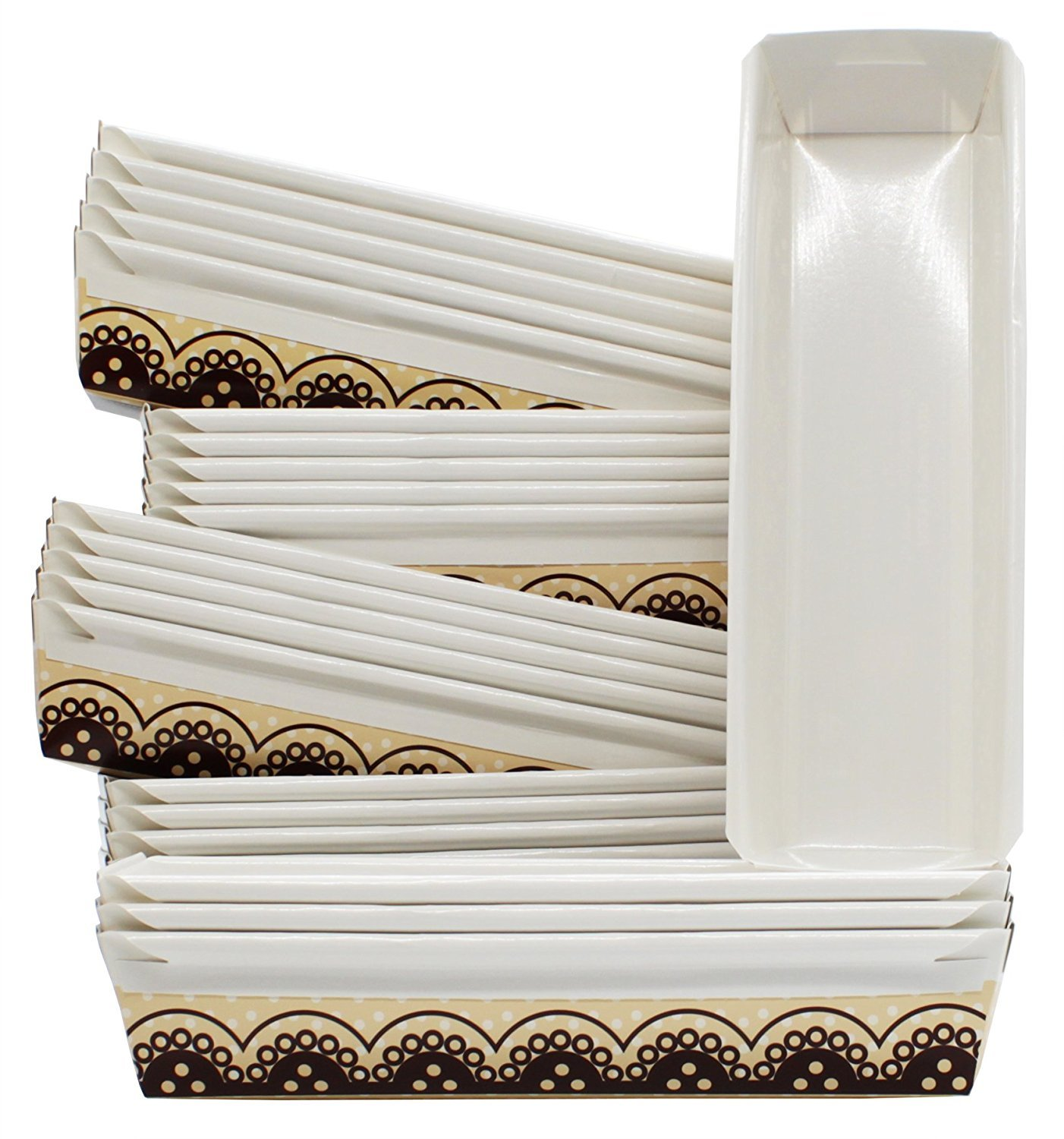 Hanamal Baking Paper Loaf Pans 11 x 3.5 x 2 Inches (Pack of 24) (Design 1)