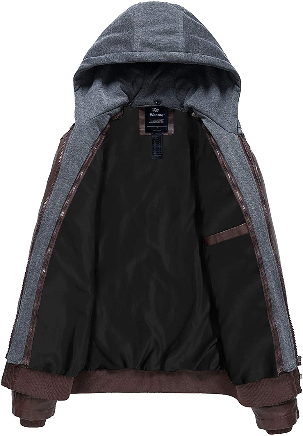 Wantdo Mens Faux Leather Jacket with Removable Hood Motorcycle Jacket Vintage Warm Winter Coat