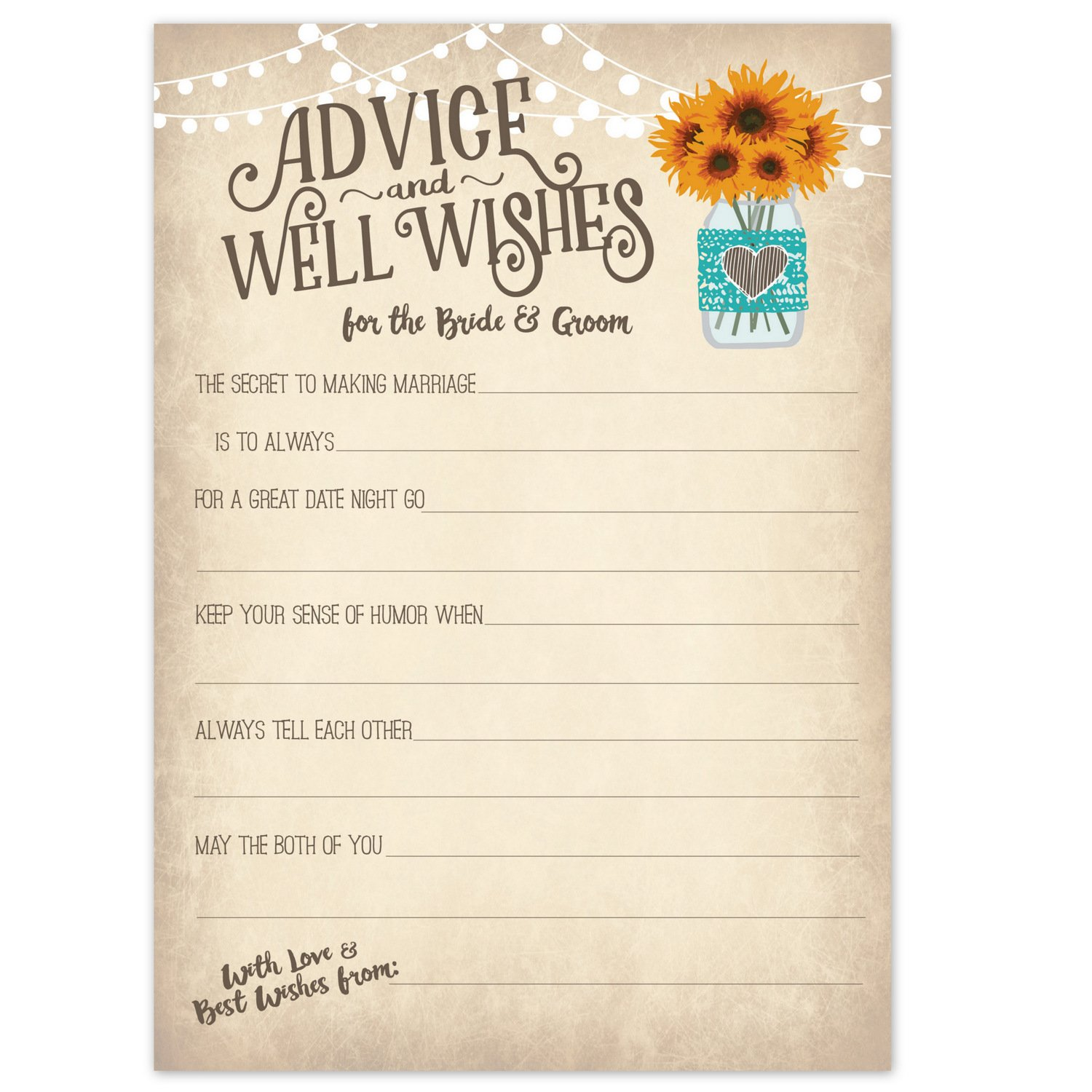 Vintage Rustic Country Wedding Advice Cards - Sunflowers in Mason Jar - Advice & Well Wishes for the Bride & Groom - Fill In the Blank Style - Bridal Shower Game or Reception Activity (50 Count)
