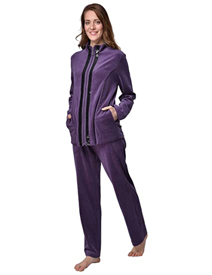 Desen Damen Hausanzug Freizeitanzug Velours Nicki Trainingsanzug aus Baumwolle