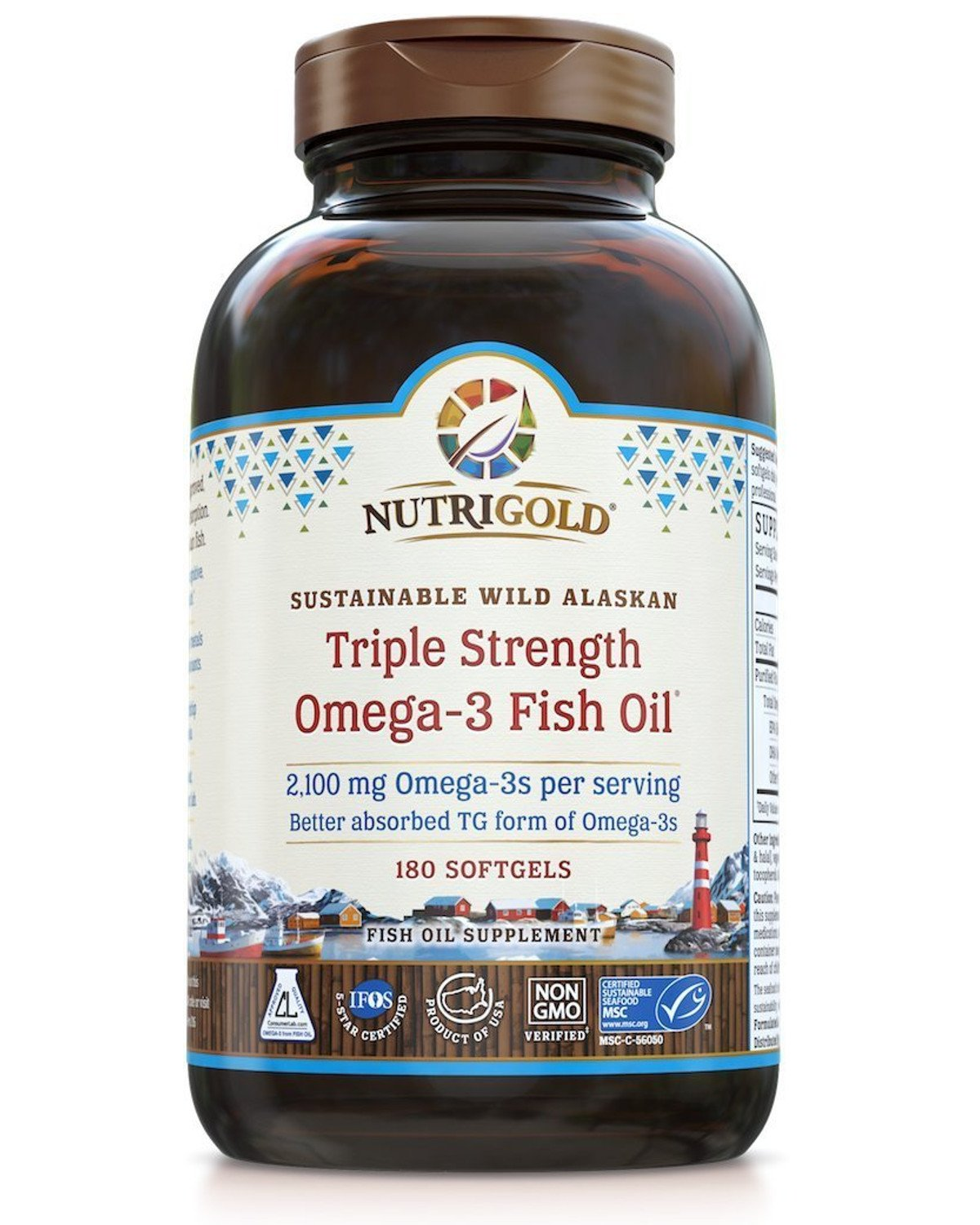 Nutrigold Triple Strength Omega-3 Gold Fish Oil Supplement, 1250 mg, 180 Softgels by Nutrigold