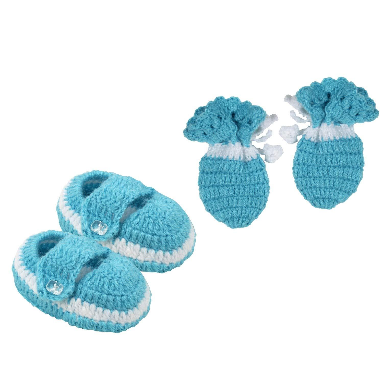 ec52bb2de03 Superminis Newborn Baby Hand Knitted Woolen Booties and Mittens Set (0-6  Months