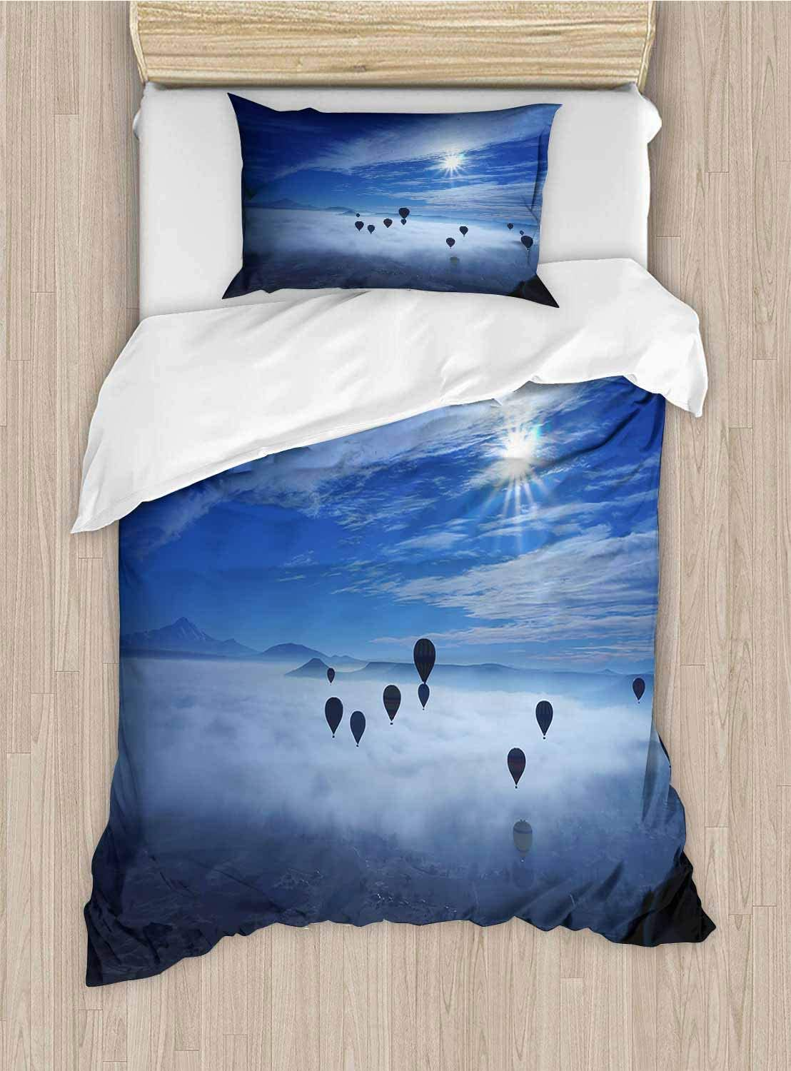 shirlyhome Sleep Restoration Luxury Bed Sheets A hot air Balloon Under The Sun Cool Breathable X-Long Twin