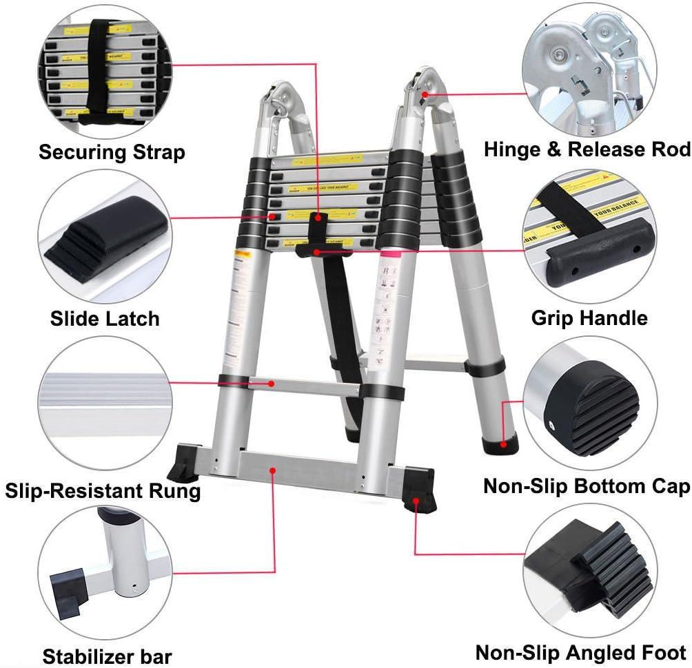 1.9+1.9M Teleskopleiter Mehrzweckleiter A Rahmen /& Gerade Leiter Fingerklemmschutz Stehleitern Auszeihleiter Klappbar Aluleiter Antirutsch bis 150 KG//330 Pfund Belastbarkeit 3.8M