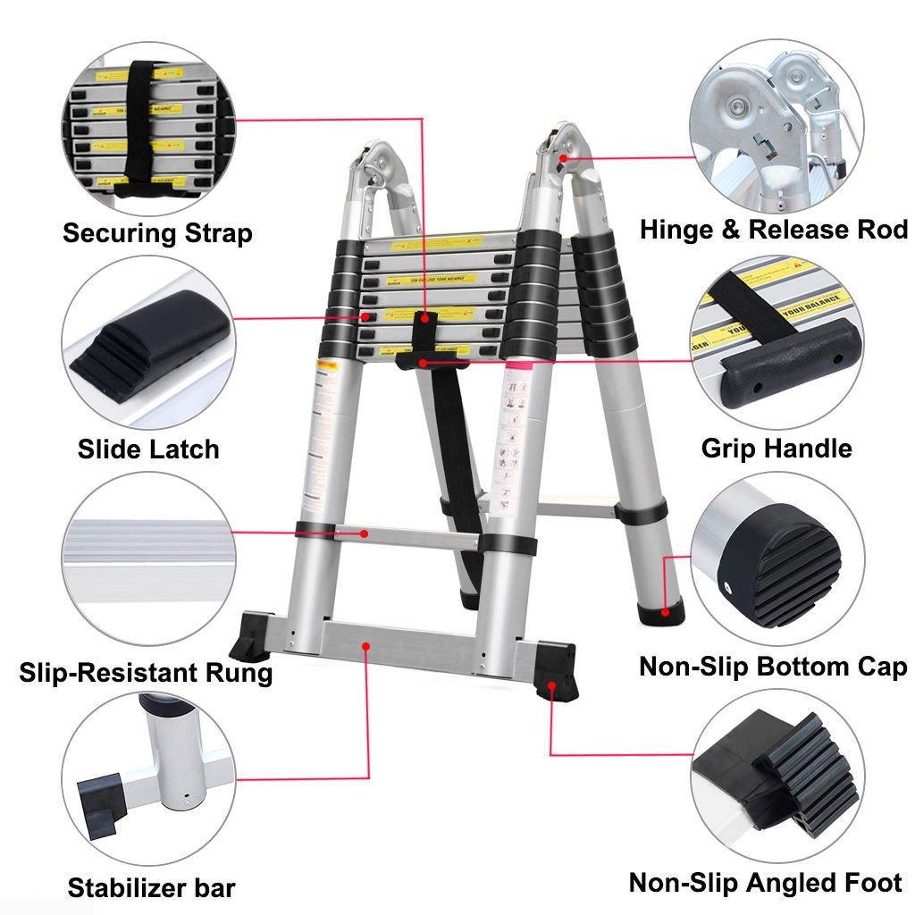 2,5m+2,5m 5m Teleskopleiter Klappleiter Ausziehbare Leiter Mehrzweckleiter Alu Leiter Teleskop Design Ausziehbare Stufen 150 kg// 330 Pfund Belastbarkeit